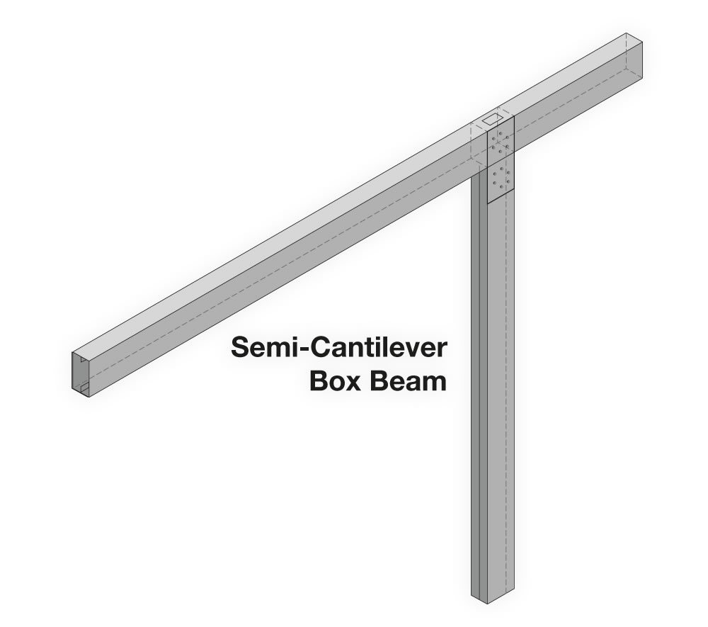 Semi-Cantilever Box Beam Carport Frame