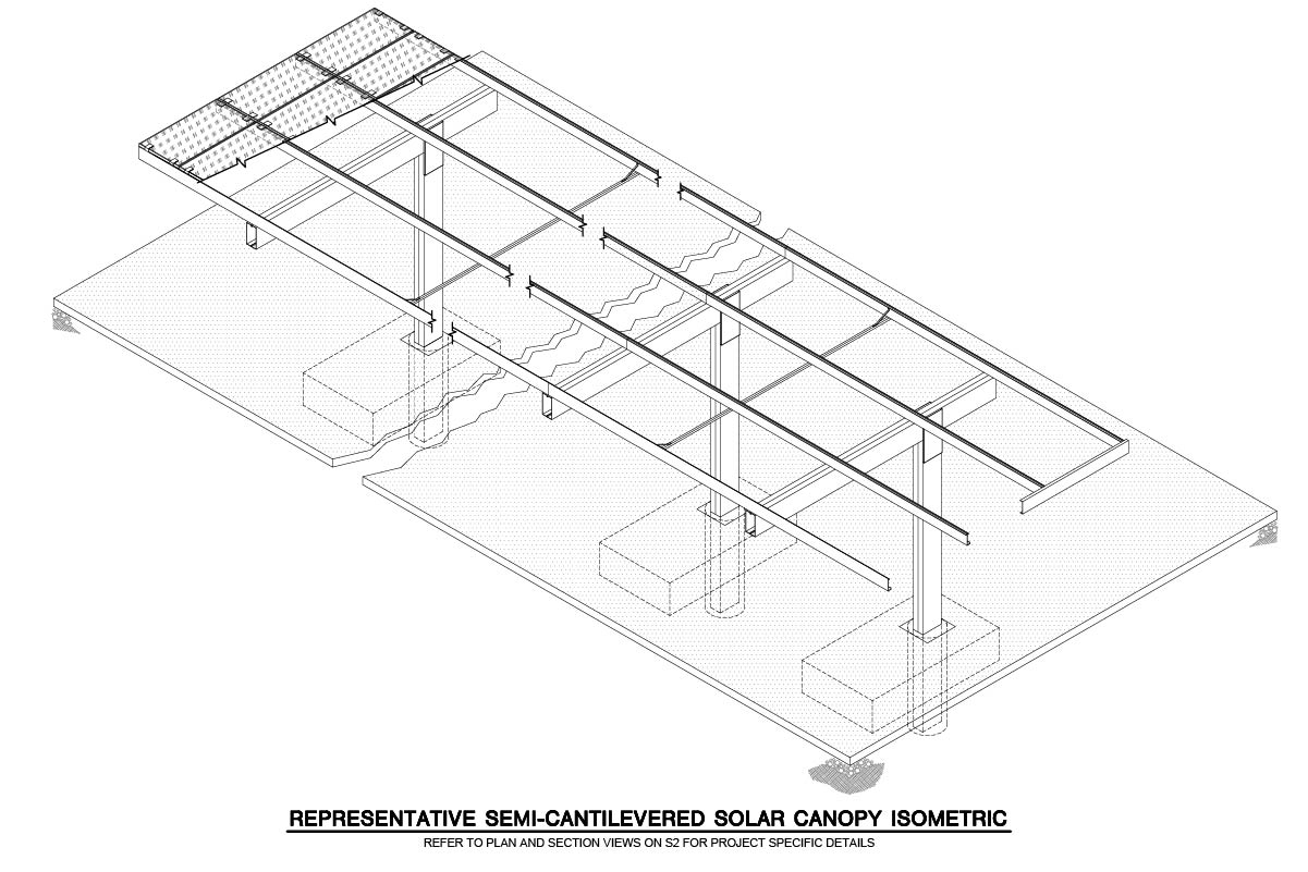 Semi-Cantilevered Solar Canopy Isometric