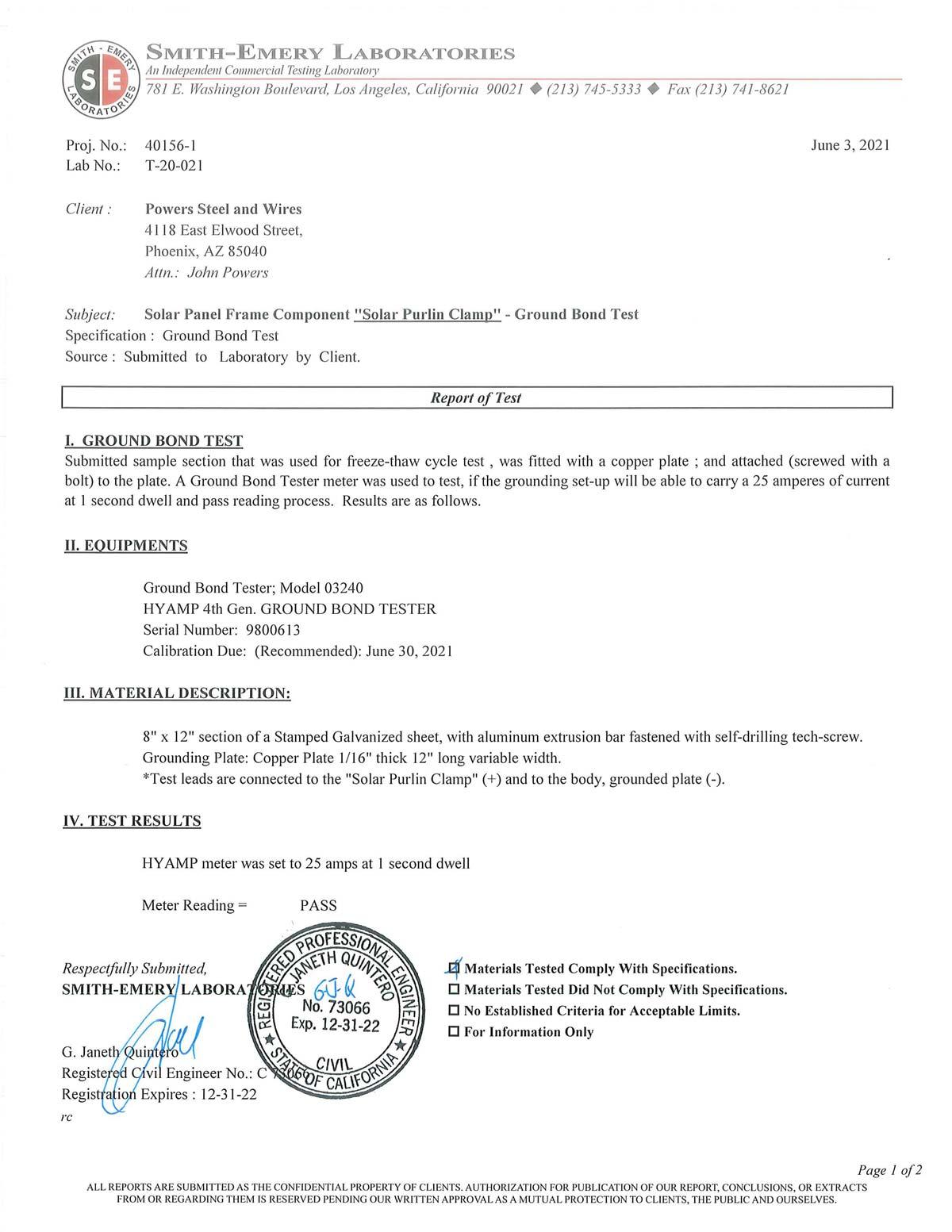 Mini Clip Ground Bond Certification page 1